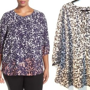 3X NYDJ Henley Top - Crepe Popover Blouse